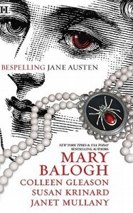 A black and white illustration of a woman with one red eye, her face partially obscured by a string of pearls ending in a black widow spider pendant