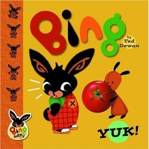 A cartoon bunny (Bing) does not want to try the juicy red tomato offered by his rabbit friend