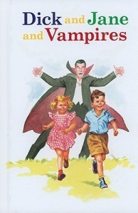 Classic early reader characters Dick and Jane laughingly run from a cartoon vampire