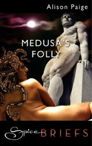 Medusa lies naked, showing only her back, before a male stone statue