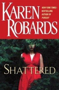 Below a large red title border, a white woman in a red v-neck dress is obscured by leafy green branches