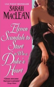 Left side is a hot pink cover with white title, right side is  a white woman seen from nose to knee, one hand holding her historical gown on her breasts, the other pulling it up her knee