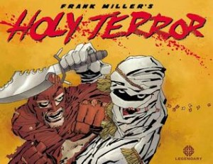 Against a backdrop of sand color and bloody red letters, a red superhero fights with a mummy clad villain