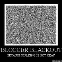 an image of static, over the text Blogger Blackout Because Stalking Is Not Okay