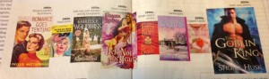 A panel spread from Entertainment Weekly of different eras in romance covers