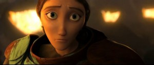 Animation of a woman in a dark fire lit room looking sad