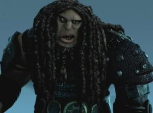 Animation of threatening figure, curled dreadlocks, dark vaguely eastern european features