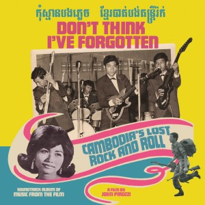 album cover for the film soundtrack, Cambodian rock stars of the sixties are shown in a cover meant to emulate albums of the era, with bright neon pink, teal and yellow accenting, in the owed corner a soldier indicates what's to come