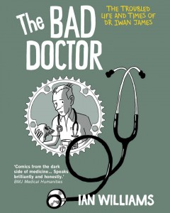 Olive green cover with a sketched stethoscope on the cover, it's loop intersecting with a circular portrait of the cartoon doctor