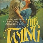 A white man and woman in historical dress embrace outdoors in a grassy field, the title splashed across their lower bodies in bright yellow