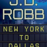 A blue night scene of new york, with a travel update style sign for the title