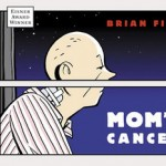 Cartoon image of bald cancer patient sitting in hospital, bisected by a window pane