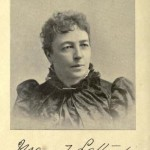 An early photo of Mary T Lathrap, in high necked black dress